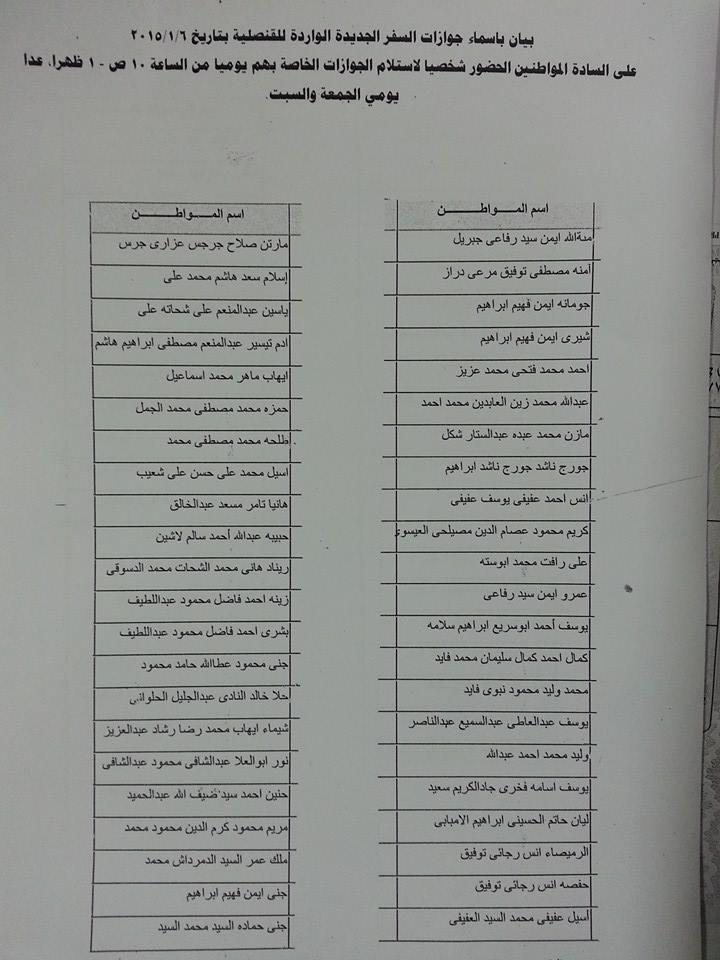 بيان بأسماء جوازات السفر الجديدة الواردة للقنصلية المصرية في