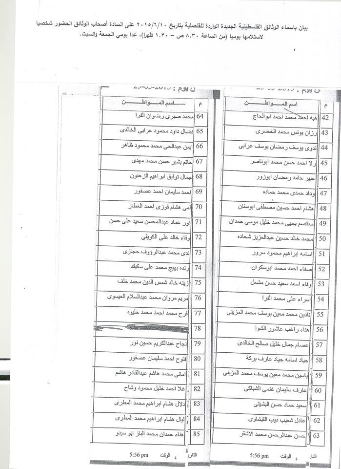 بيان باسماء الوثائق الفلسطينية الجديدة الواردة للقنصلية بتاريخ 10